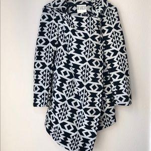 BB Dakota Wool Blend Aztec Print Poncho Wrap Coat